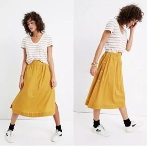 $100 Madewell Mustard Yellow Button Midi Skirt 6